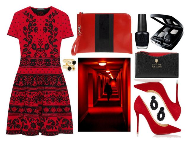 """""""Red + Black"""" by cherieaustin ❤ liked on Polyvore featuring Alexander McQueen, Diesel Black Gold, Christian Louboutin, Gucci, OPI, Chanel, Joomi Lim and Bibi Marini"""