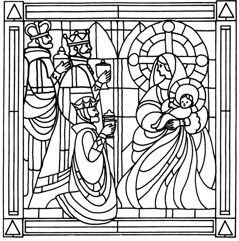 Stained Glass Coloring Pages For Adults Nativity Coloring Pages