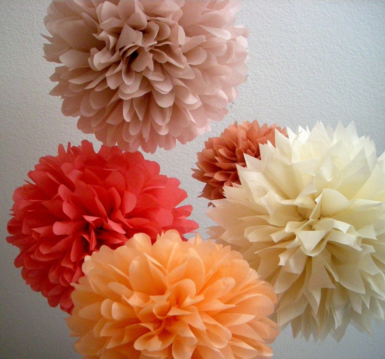 Tea Party 5 Tissue Paper Pompoms Paris French Theme Baby Bridal Wedding Decorations First 30th Birthday Party Peach Coral Rose Gold Tissue Paper Pom Poms Paper Pom Poms Paper Flowers