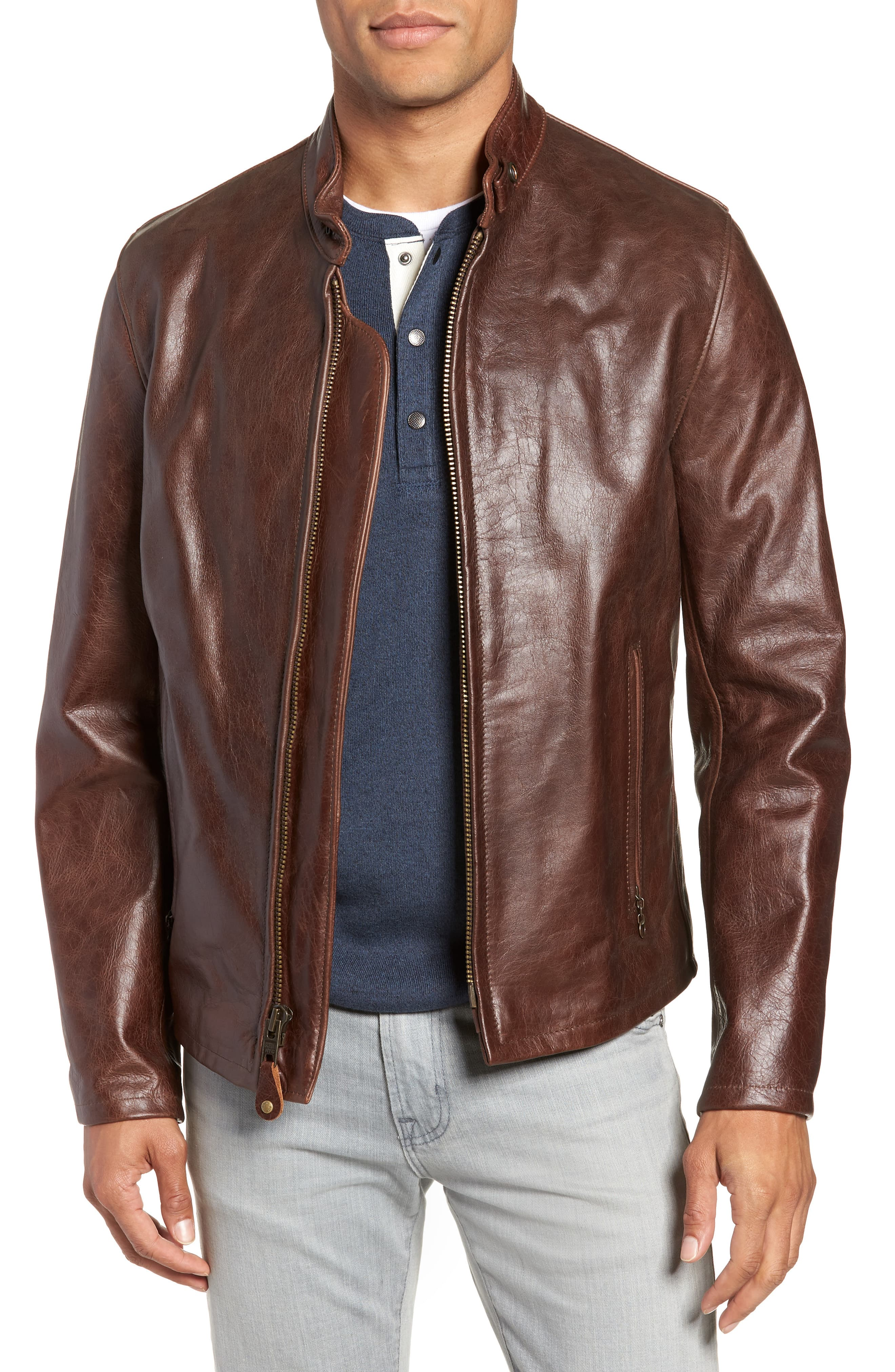 Schott Nyc Cafe Racer Waxy Cowhide Leather Jacket Nordstrom In 2021 Leather Jacket Men Style Brown Leather Jacket Men Leather Jacket [ 4048 x 2640 Pixel ]