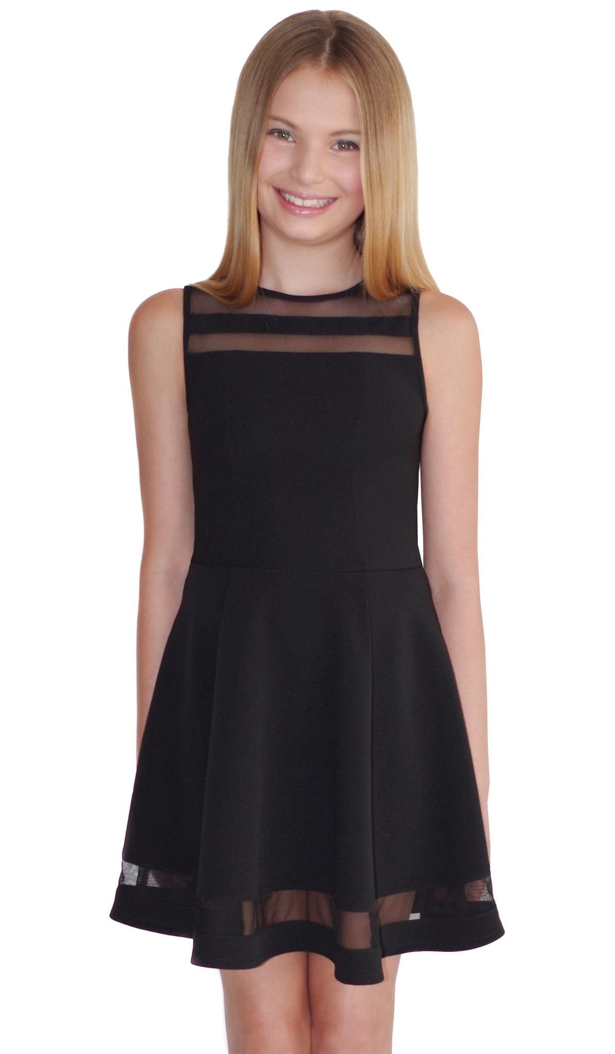Black textured stretch knit with black sheer mesh inserts ...