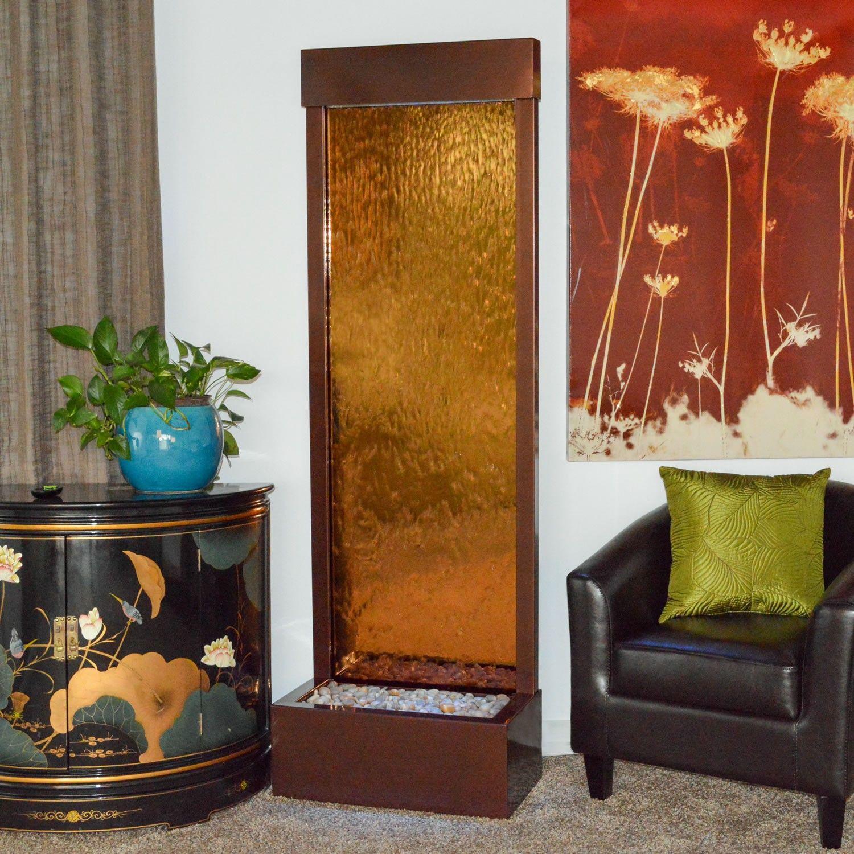 6 gardenfall bronze mirror and dark copper floor fountain