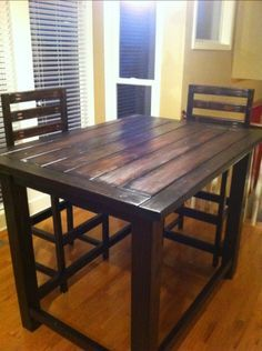 Painted Dark On Hickory Wood For Counter Height Rustic Kitchen Table And Chairs