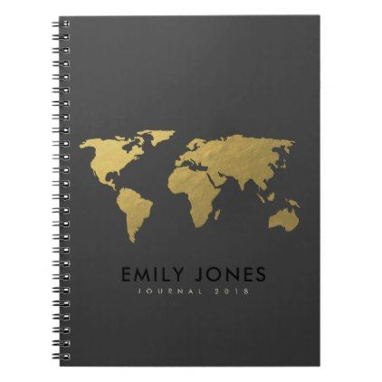Elegant gold faux black world map personalized notebook simple elegant gold faux black world map personalized notebook simple clear clean design style unique diy publicscrutiny Images