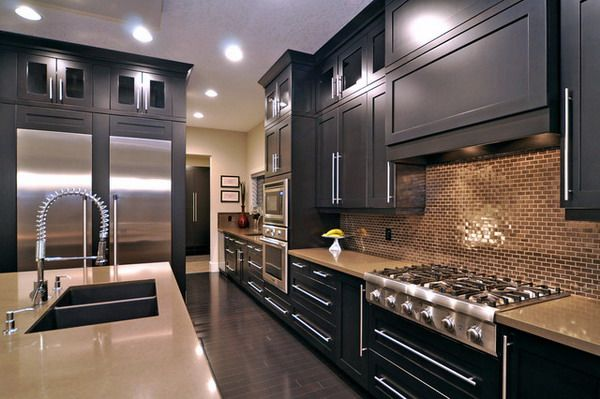 Modern Kitchen Design With Black Stained Maple Kitchen Cabinets And Elegant Kitchen Island Interior Design Kitchen Modern Kitchen Design House Design