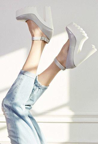 fe8f007bca1 Lug Sole Ankle Strap Platform Heels