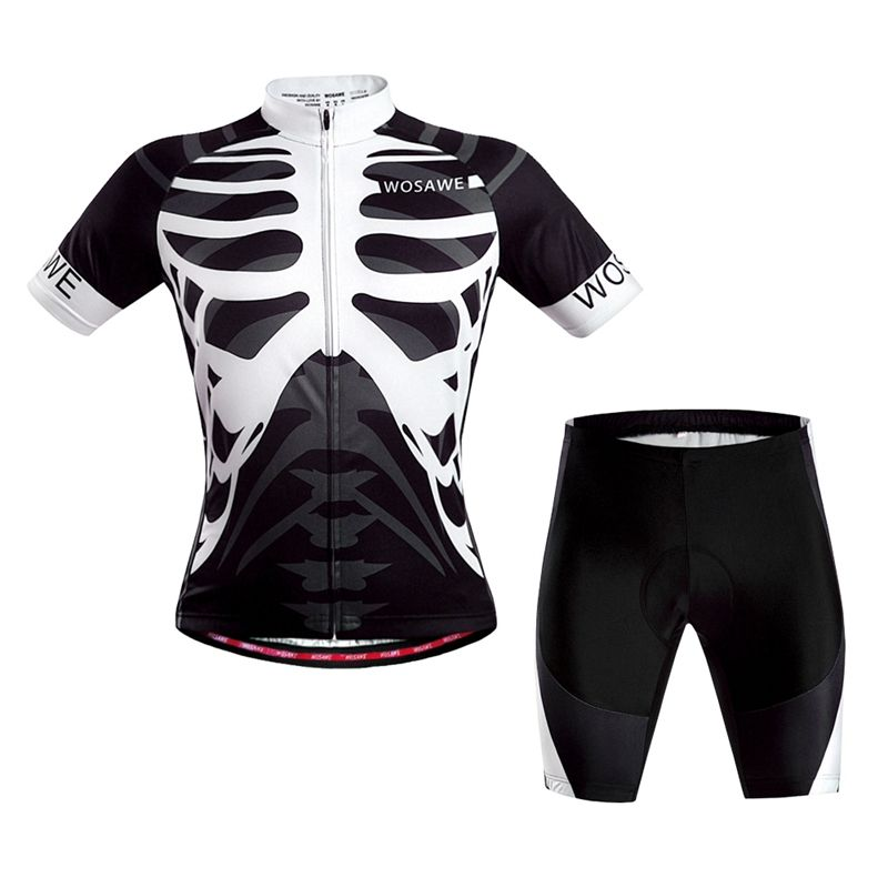 Sale 13% (29.99 ) - WOSAWE Short Sleeves Cycling Jersey Cycling Clothing  Set Bicycle Bike Suit Skeleton a838e8b5f