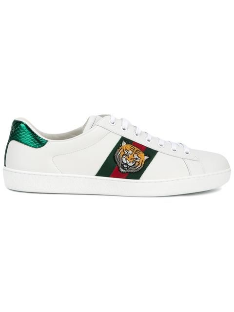 GUCCI tiger embroidered sneakers