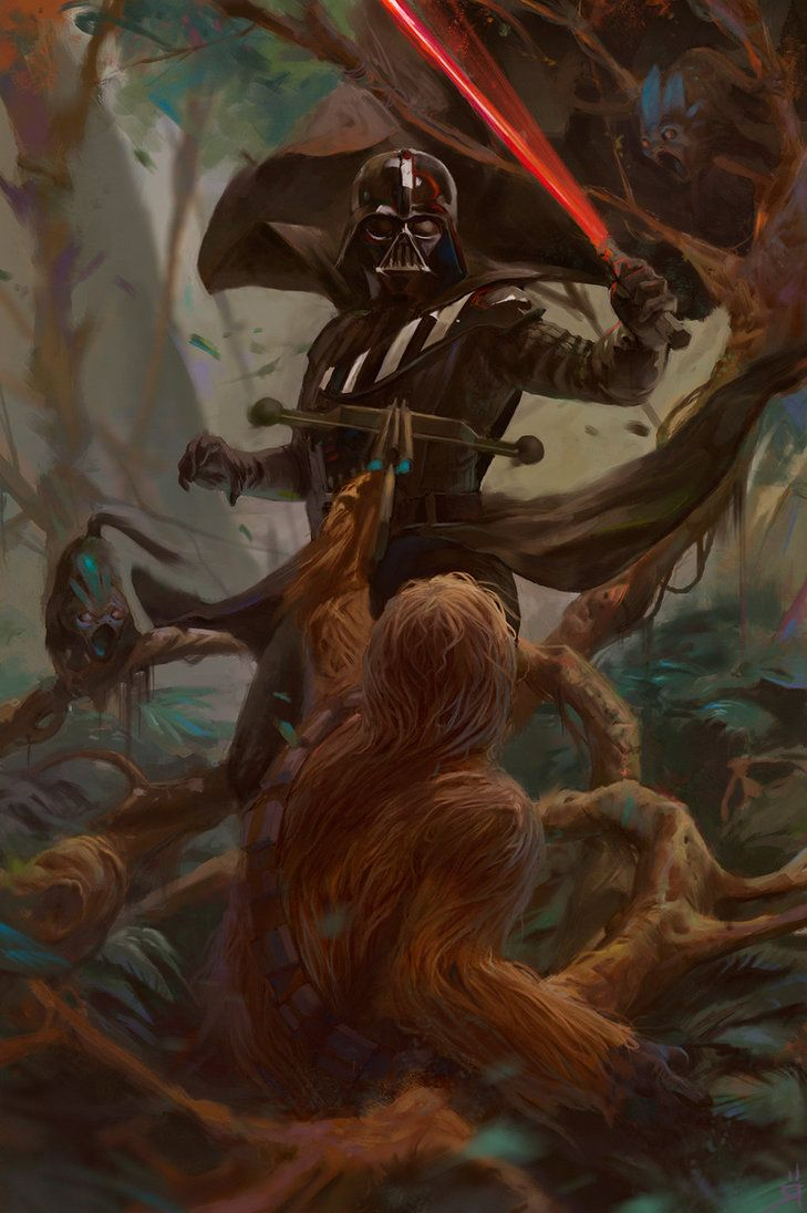 Darth Vader vs Chewbacca by Oscar Römer