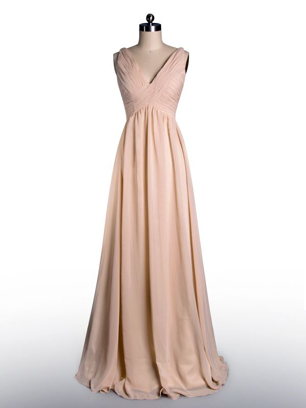 84853beda31 A bridesmaid dress. Also comes in ivory. Simple Flowy Peach Pleated V-neck  Bridesmaid Dress. I would look better in royal blue or dark teal.