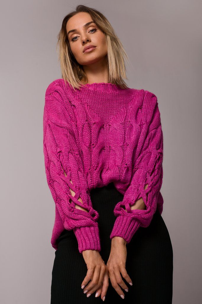 Fuchsia Sweater With Open Knit Sleeves