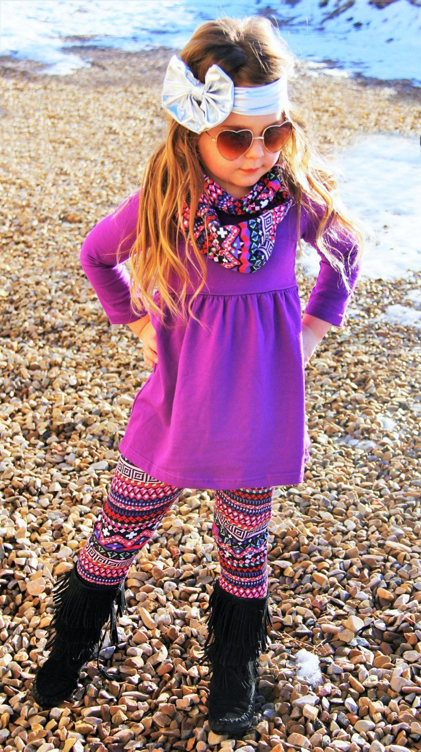 New Arrival Purple Aztec 3 Piece Warm Winter Tribal Outfit