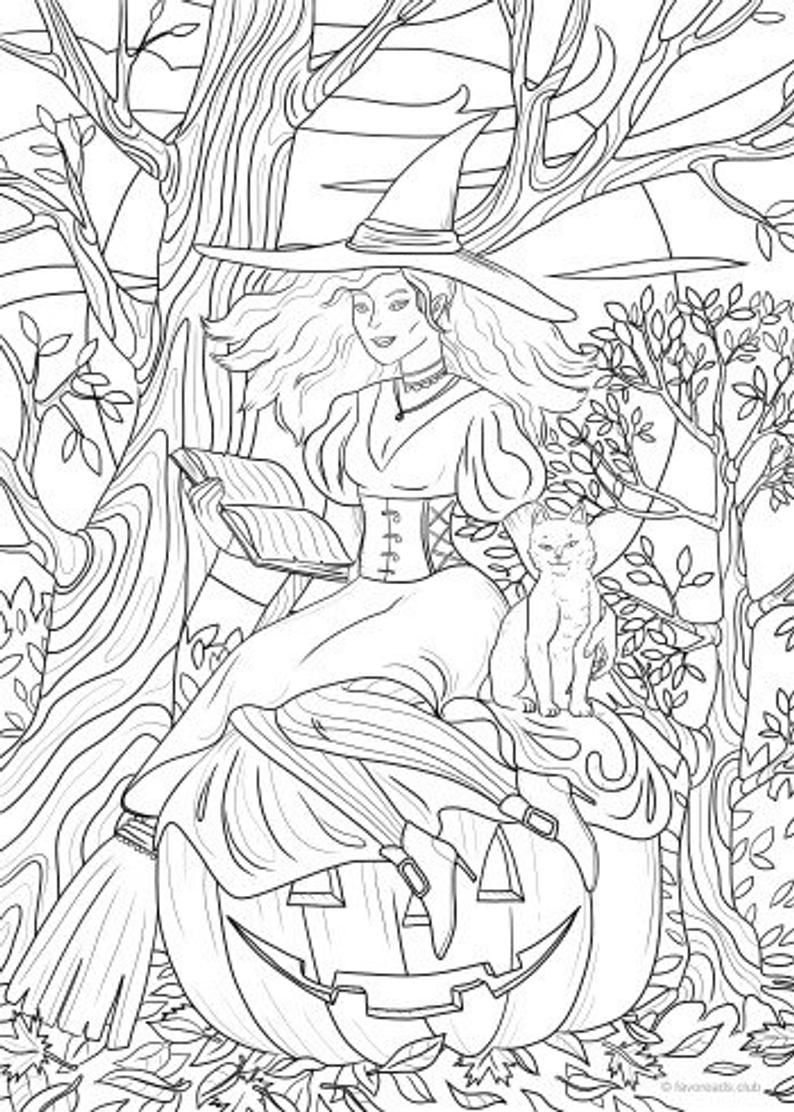 Witchcraft Printable Adult Coloring Page from Favoreads