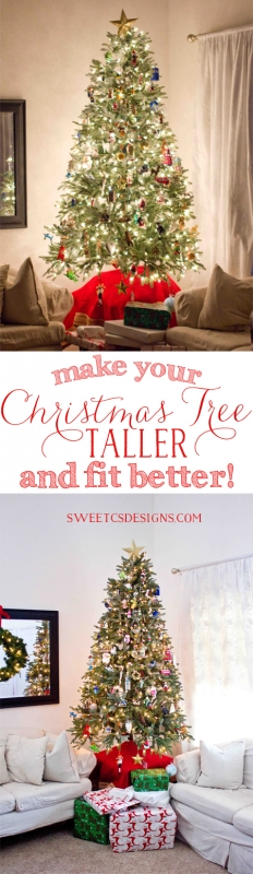 Make Your Christmas Tree Taller This Is Such A Great Idea To Fit In Your Room Better And Save Money Christmas How To Make Christmas Tree Christmas Tree Themes
