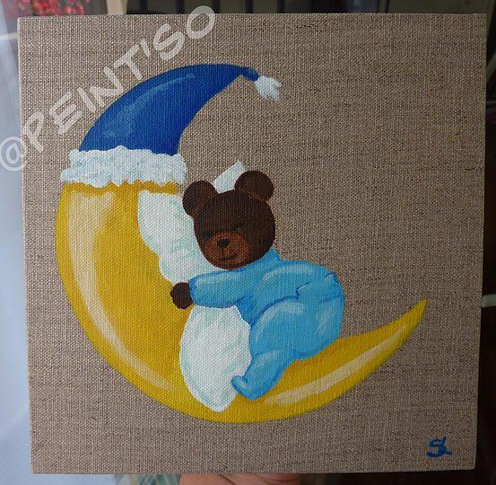 Ourson dans la lune sur toile de lin peinture acrylique d co chambre de b b d couvrez les - Decoration ourson pour bebe ...