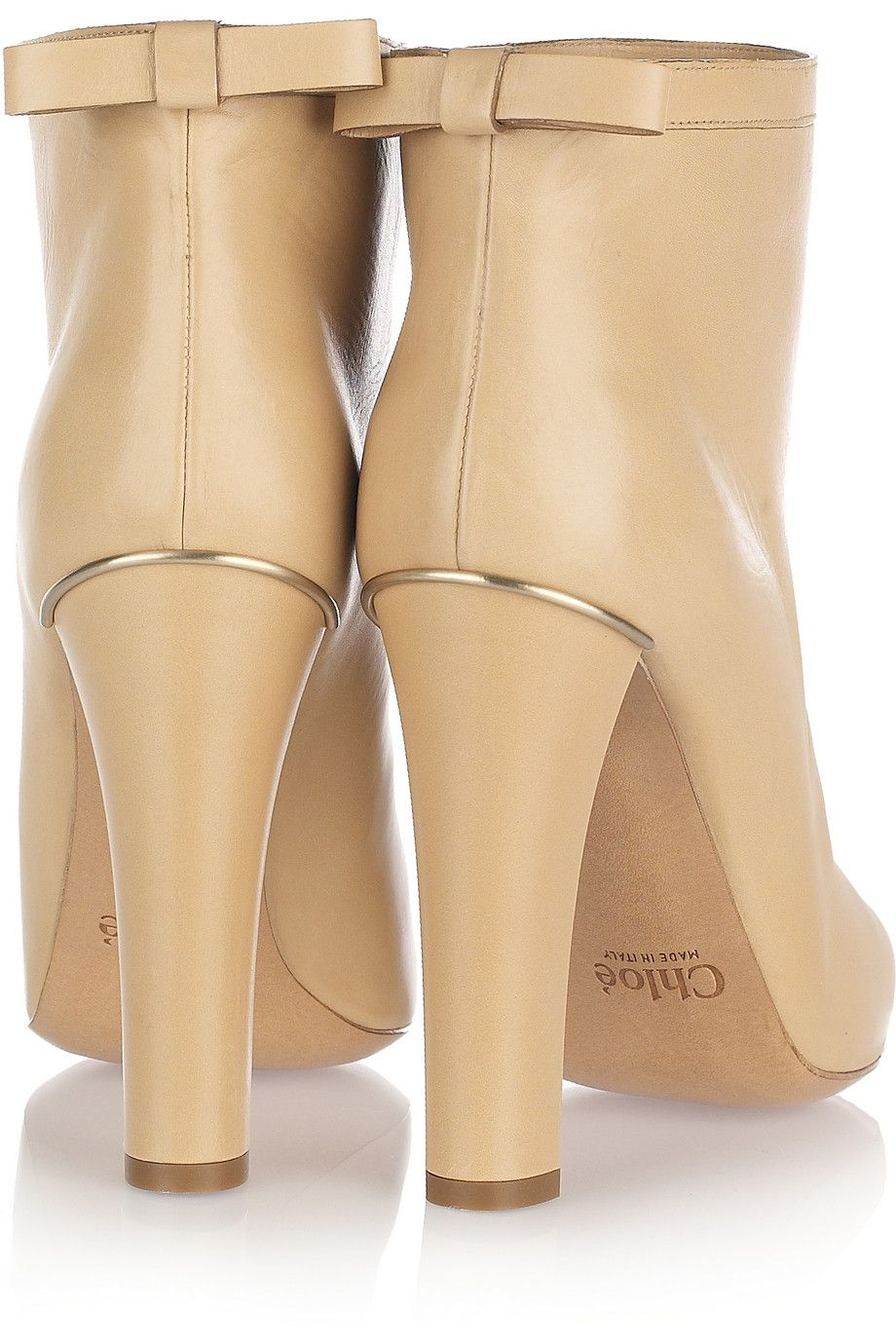 Chloé|Bow-embellished leather ankle boots|NET-A-PORTER.COM #Chloe'
