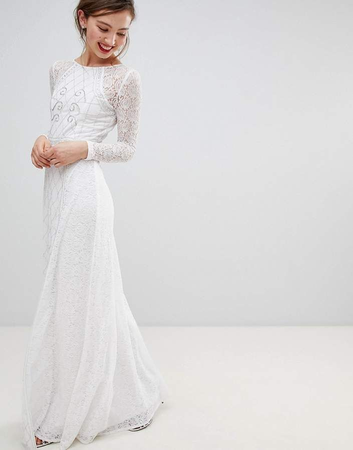 9e1022fade4 Frock and Frill Frock   Frill Long Sleeve Lace Maxi Dress With Embellished  Detail