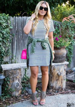 contrast striped short sleeve straight dress shein