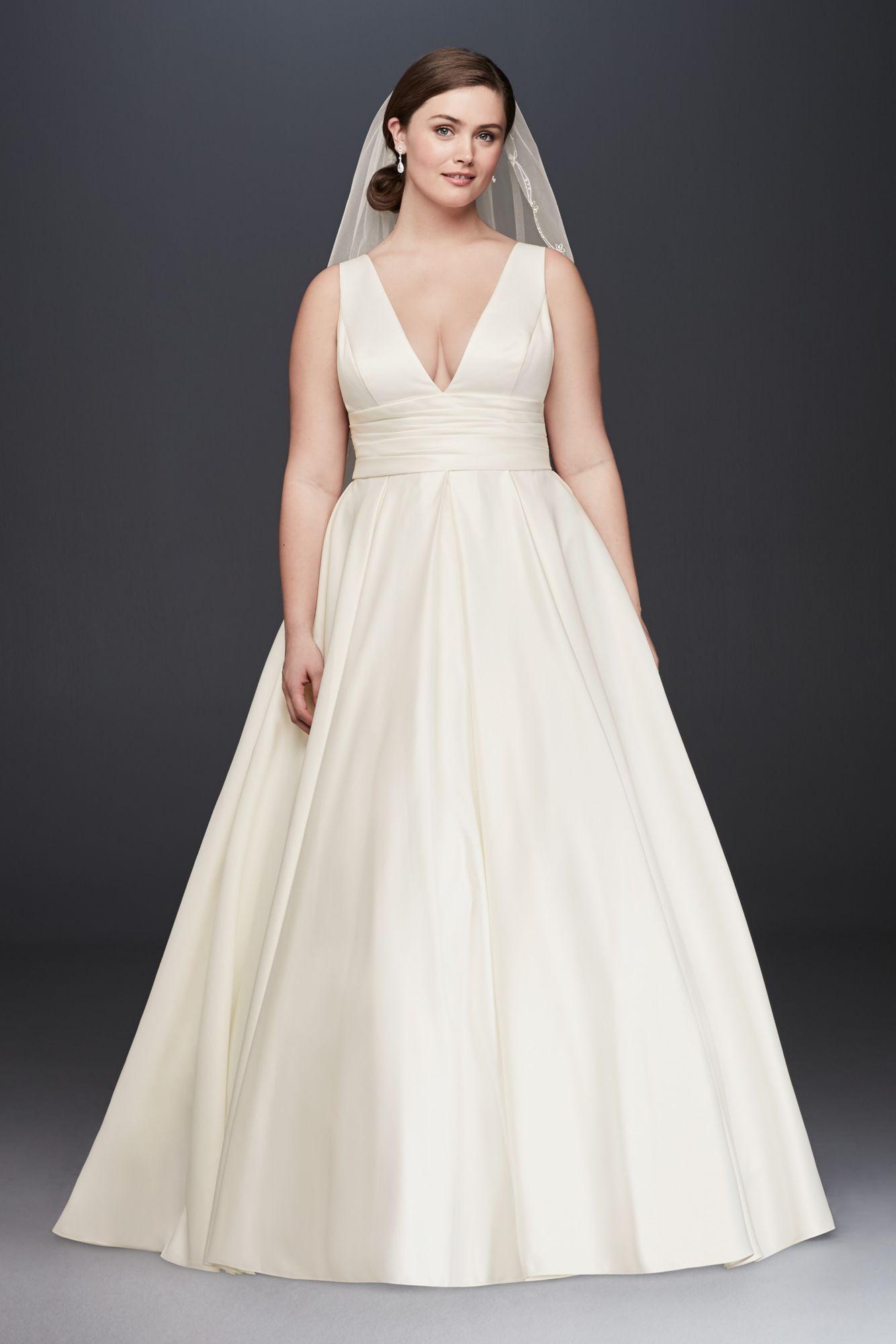 64651af534f Plus Size Tank V Neck 9V3848 Style Satin Ball Gown Wedding Dress ...