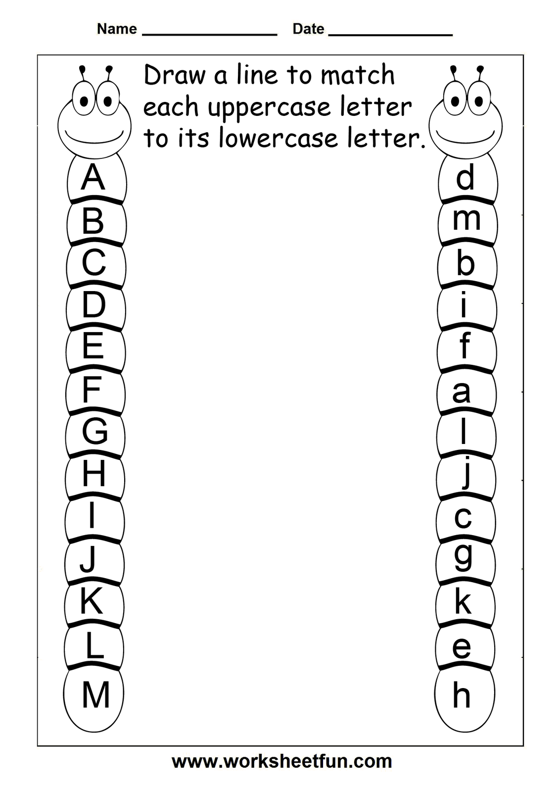 Match Uppercase And Lowercase Letters  13 Worksheets / FREE Printable  Worksheets