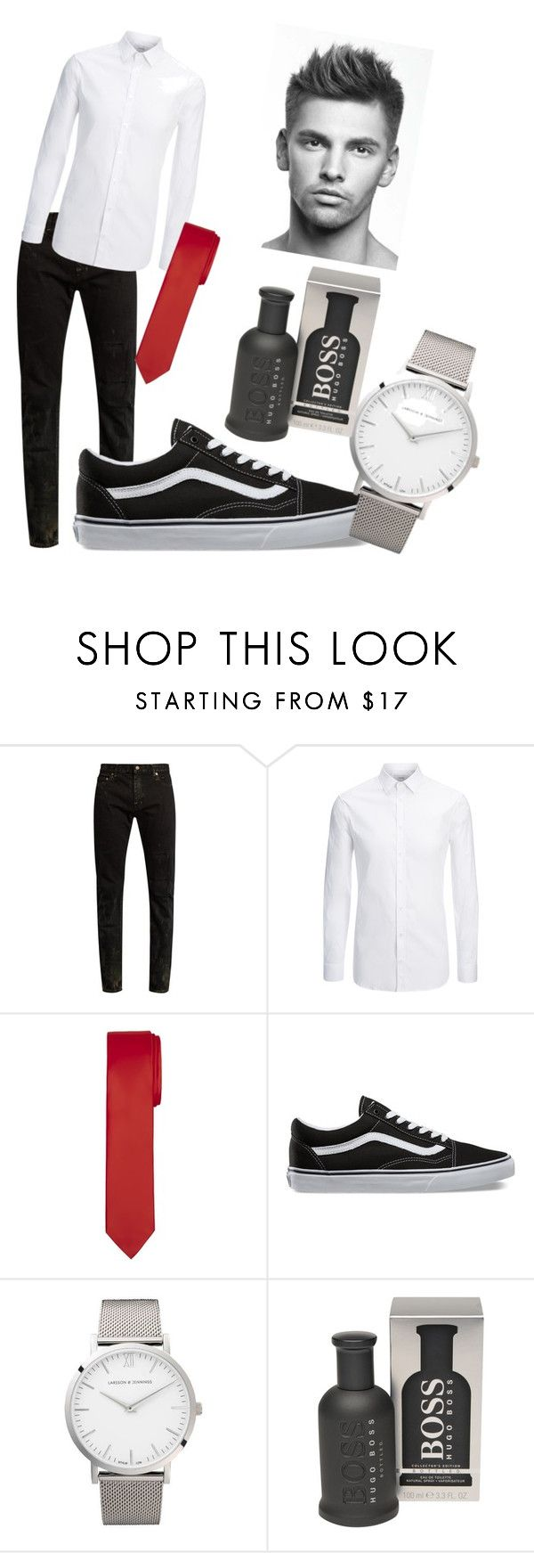 """""""XMAS with babe (for boys)"""" by valezb on Polyvore featuring Yves Saint Laurent, Joseph, Vans, Larsson & Jennings, BOSS Hugo Boss, men's fashion and menswear"""