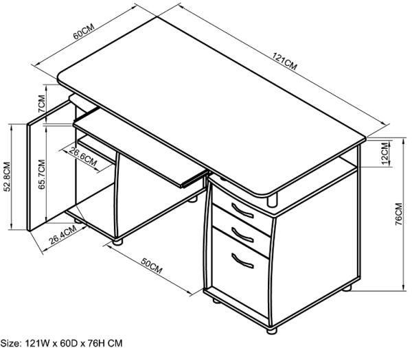 Office desk size standard computer dimensions top