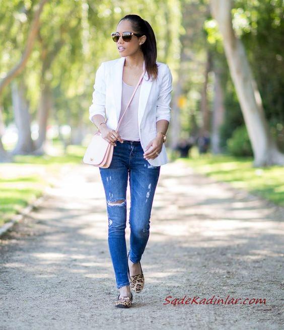 2020 Bayan Beyaz Blazer Ceket Kombinleri Mavi Kot Pantolon Siyah Bustiyer Beyaz Blazer Ceket Stiletto Ayakkabi Blazer Ceket Moda Stilleri Pantolon