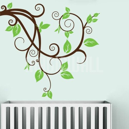 Swirly Branch With Leaves Wall Decals Stickers Vinilos - Wall decals leaves
