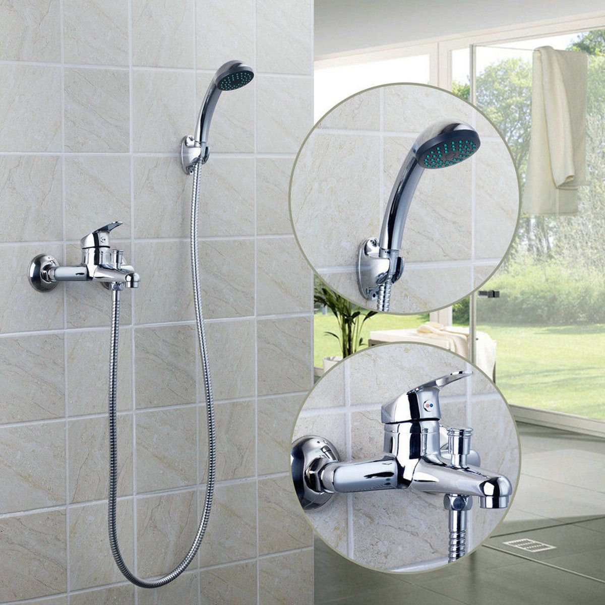 Chrome Wall Mounted Bathroom Bathtub Shower Faucet Set Mixer With ...