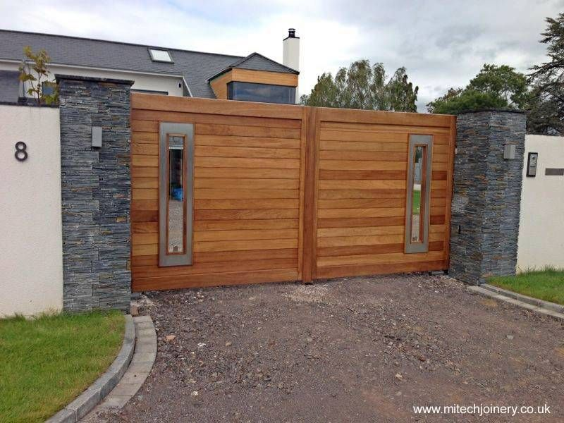 Port n de madera con ventanas verticales imagenes - Portones de madera para exterior ...