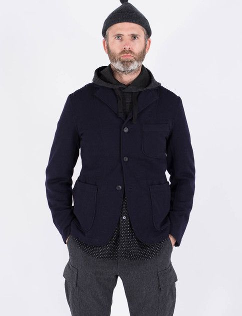 Engineered Garments Charcoal Wool Jersey Knit Hooded Interliner ...