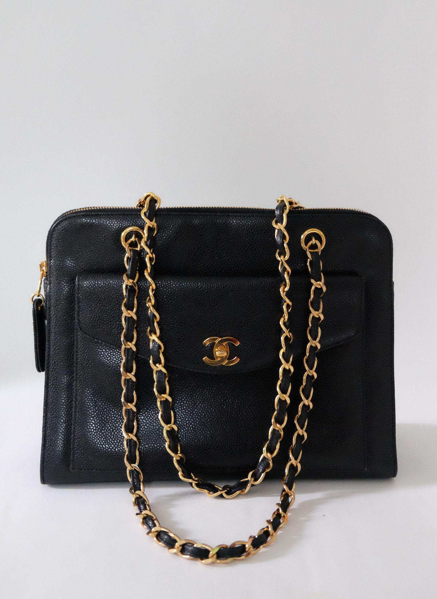 Chanel handbag superb vintage chanel bag vintage leather - Chanel Vintage Black Caviar Gold Strap Front Pocket Shoulder Tote Bag