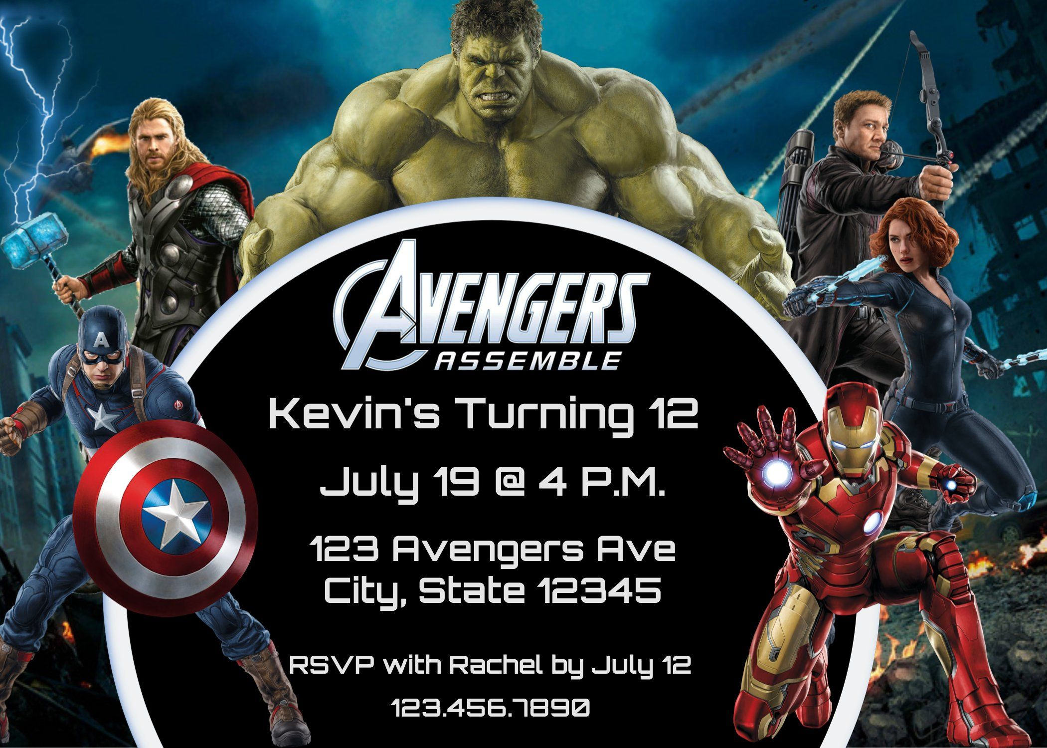 avengers assemble birthday party invitation for all ages