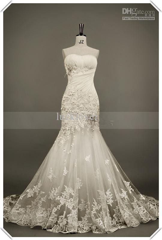 Elegant Sexy Mermaid Wedding Dresses Pleat Appliques Beads Lace