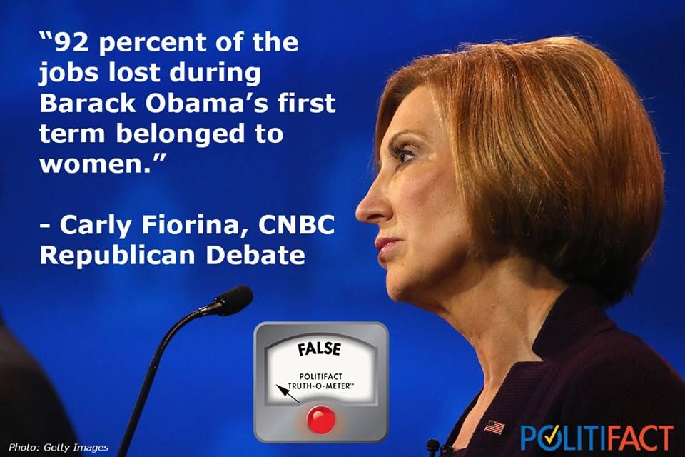 Carly Fiorina on Obama and women's jobs. She said women bore the brunt of job losses in Obama's first term. In fact, 416,000 women gained jobs. http://tbtim.es/qvo