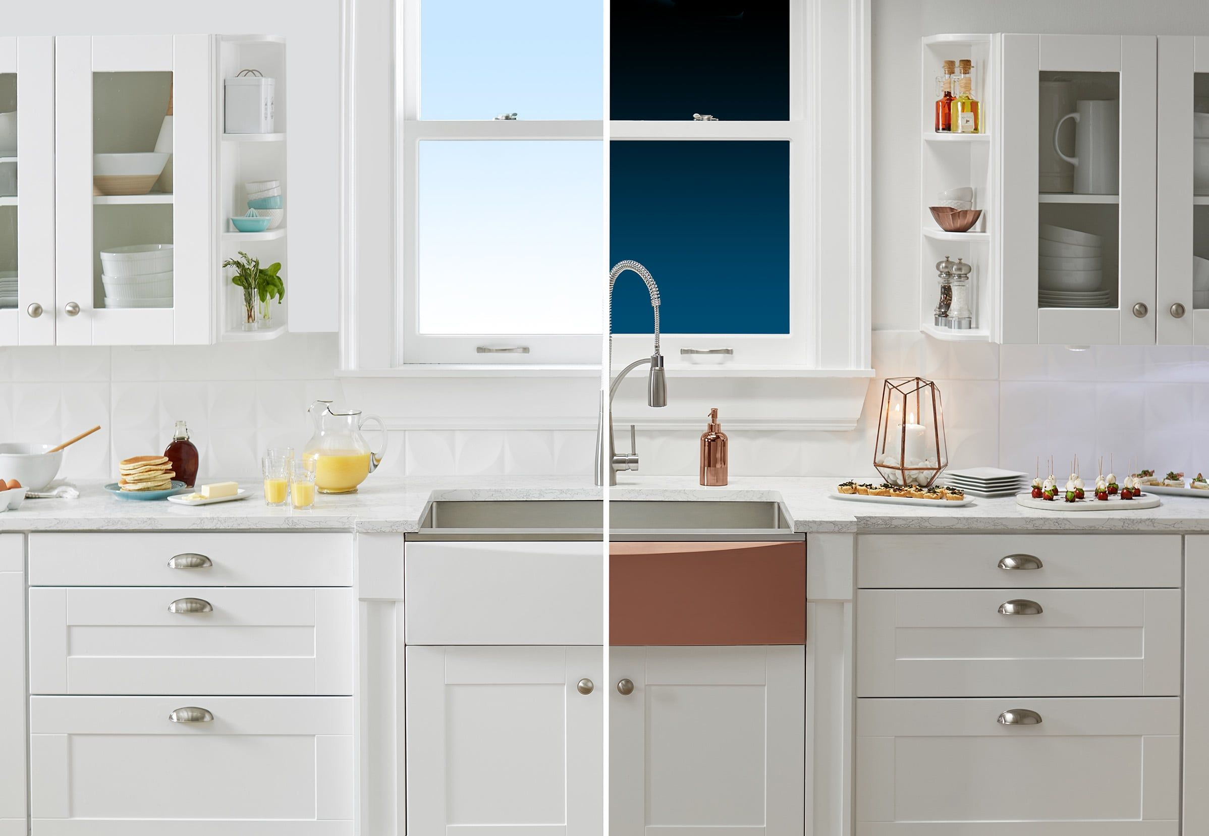 Day To Night 1 00 Elkay Crosstown Farmhouse Sink With