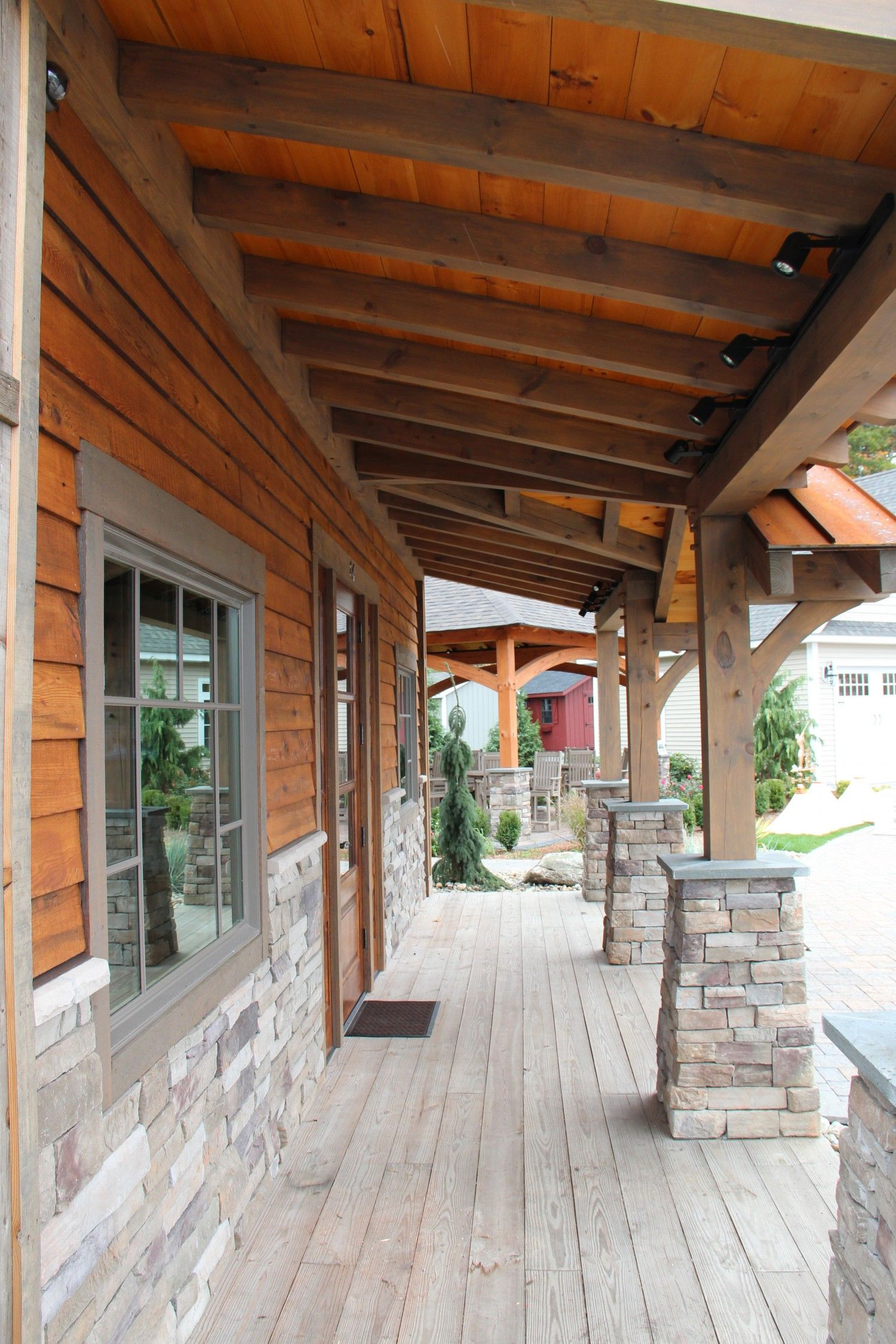 Timberframe Porch Office Building With Timber Frame Porch