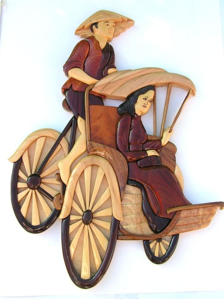 Tricycle Vietnamese Men Women Art Intarsia Wood Picture Home Decor Collectible