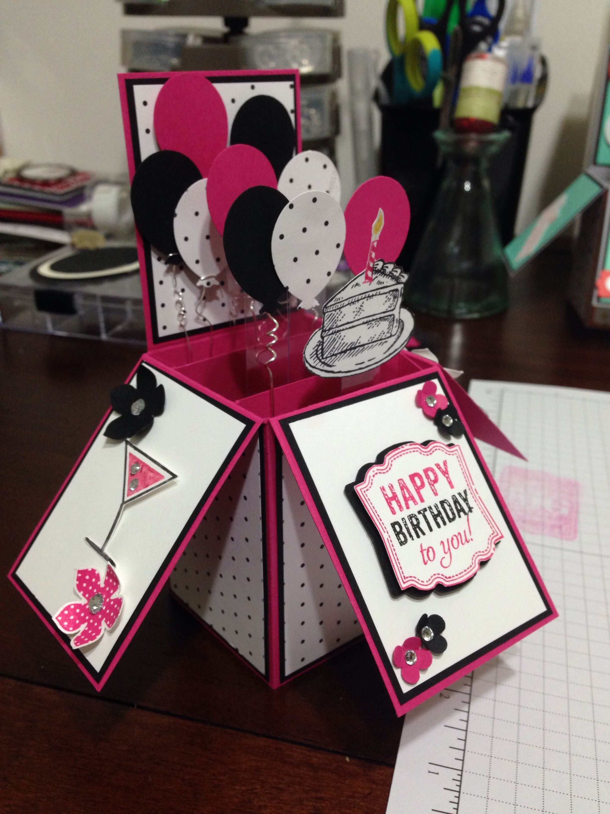 Pin By Martine Gaujal On Stampin Up Cards My Creations Exploding Box Card Birthday Cards Diy Pop Up Box Cards