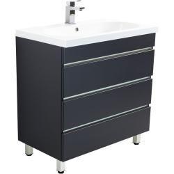 Photo of Mobile bagno Stand Umberto 70 antracite lucido setoso con tre cassetti senza maniglia