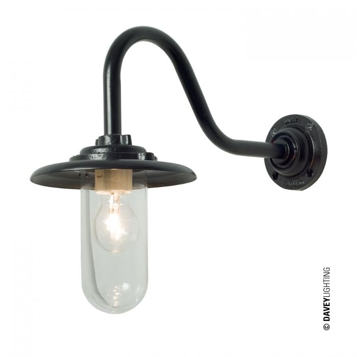 Marvelous Exterior Bracket Light, 60W, Swan Neck, Painted Black, Clear Glass 7677