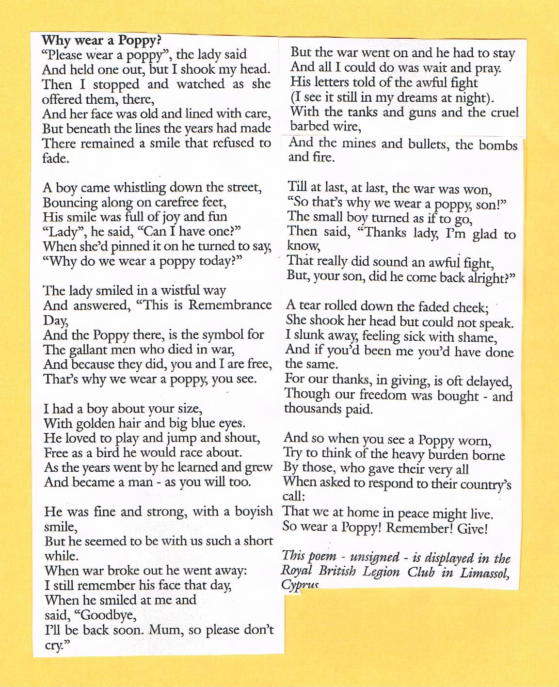 """Each November 11th., I re-read this moving poem, """"Why Wear A Poppy?"""" It  used to hang on the wall of the Royal British Legion Club, in Limassol,  Cyprus."""