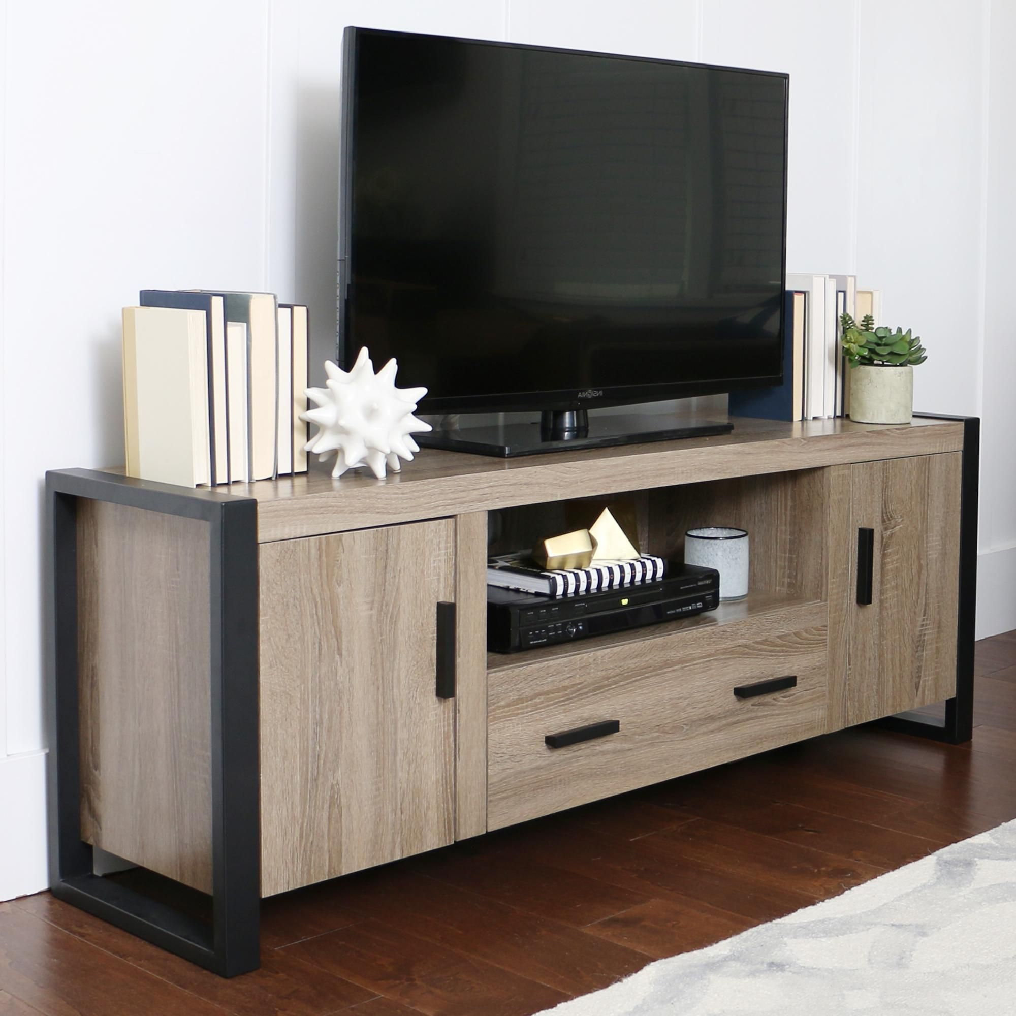 Amazon Com We Furniture 70 Quot Industrial Wood Tv Stand Console Driftwood Kitchen Amp Dining Tv Stand Wood Saracina Home Metal Tv Stand