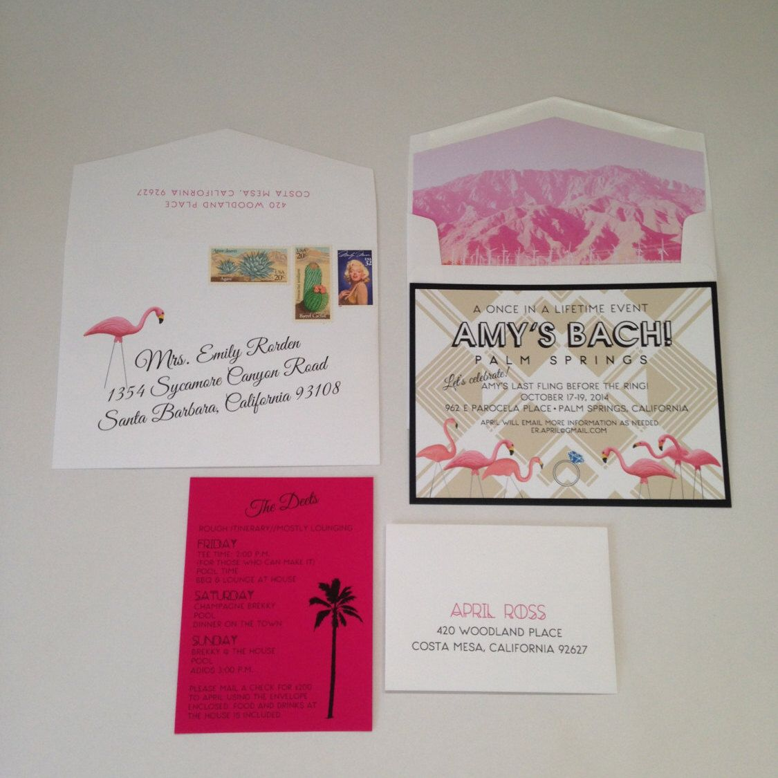 Flamingo Bachelorette Invitation, Palm Springs Bachelorette ...