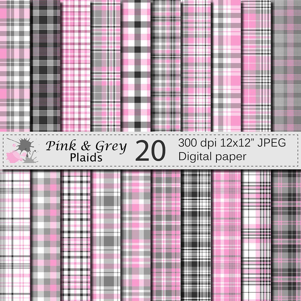Pink and Grey Plaids Digital Paper Set, Pink and Grey Plaid Digital Papers, Plaid Scrapbook Paper, Instant Digital Download by VRDigitalDesign on Etsy