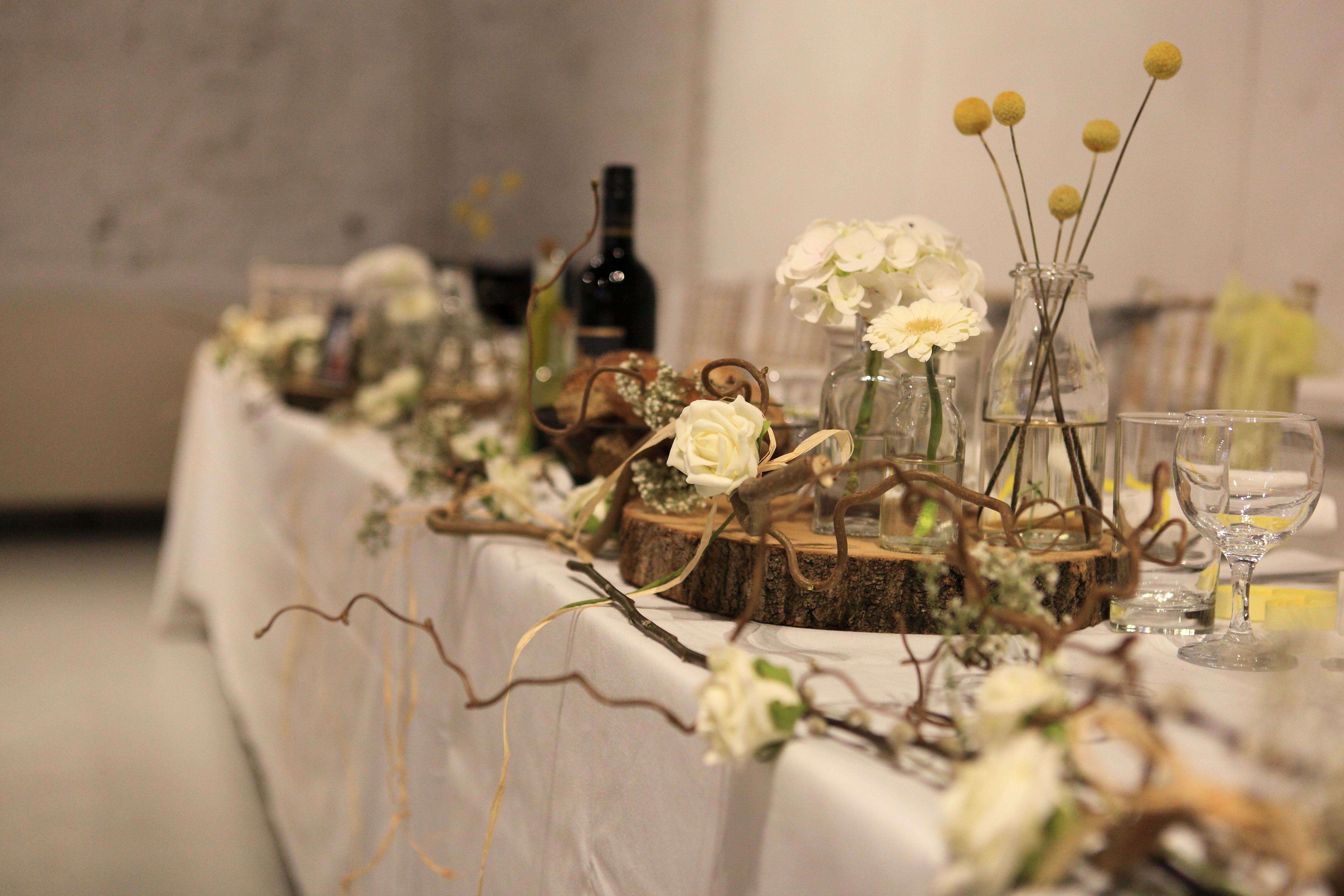 Top Table Inspiration Twister Willow Gypsophilia And White Roses