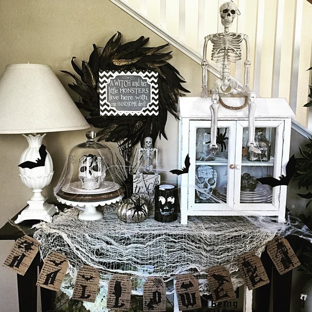 Hello there my Insta friends! My daughter is so excited for - black and white halloween decorations