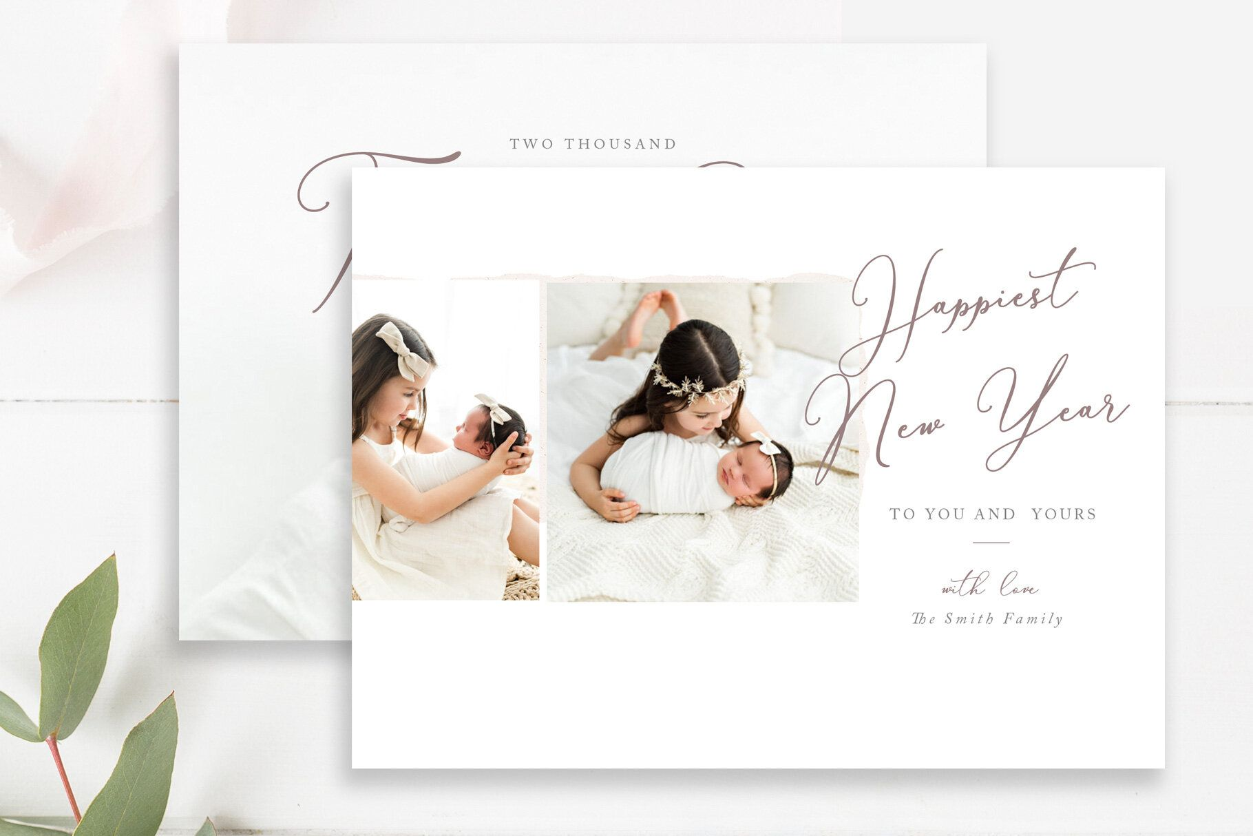 Minimalist New Years Photo Card Photoshop Templates For Photographers By Stephanie Design New Year Photos Photoshop Template Design Photo Cards