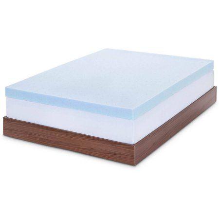 Lucid 4 Inch Gel Memory Foam Mattress Topper Blue Memory Foam