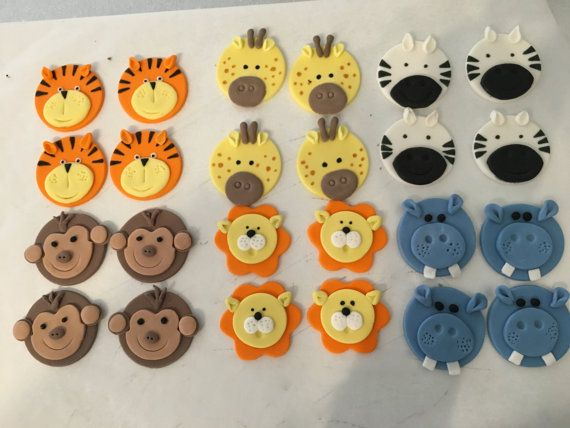 Set of 12 or 24 Animal cupcake toppers by SugaryLand on Etsy